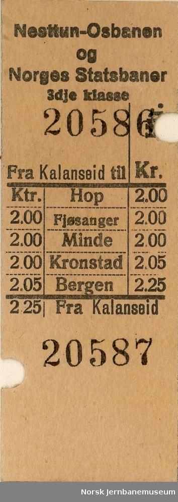Samtrafikkbillett Nesttun-Osbanen og NSB, fra Kalandseid til NSB-stasjonen mot Bergen, 3 klasse, brukt