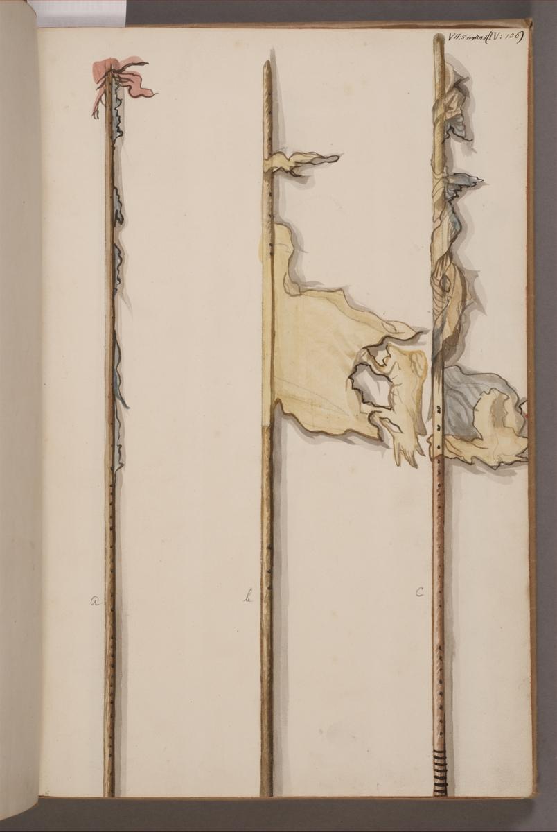 Avbildning i gouache föreställande fanstänger tagna som troféer av svenska armén. De avbildade fanstängerna finns inte bevarade i Armémuseums samling.