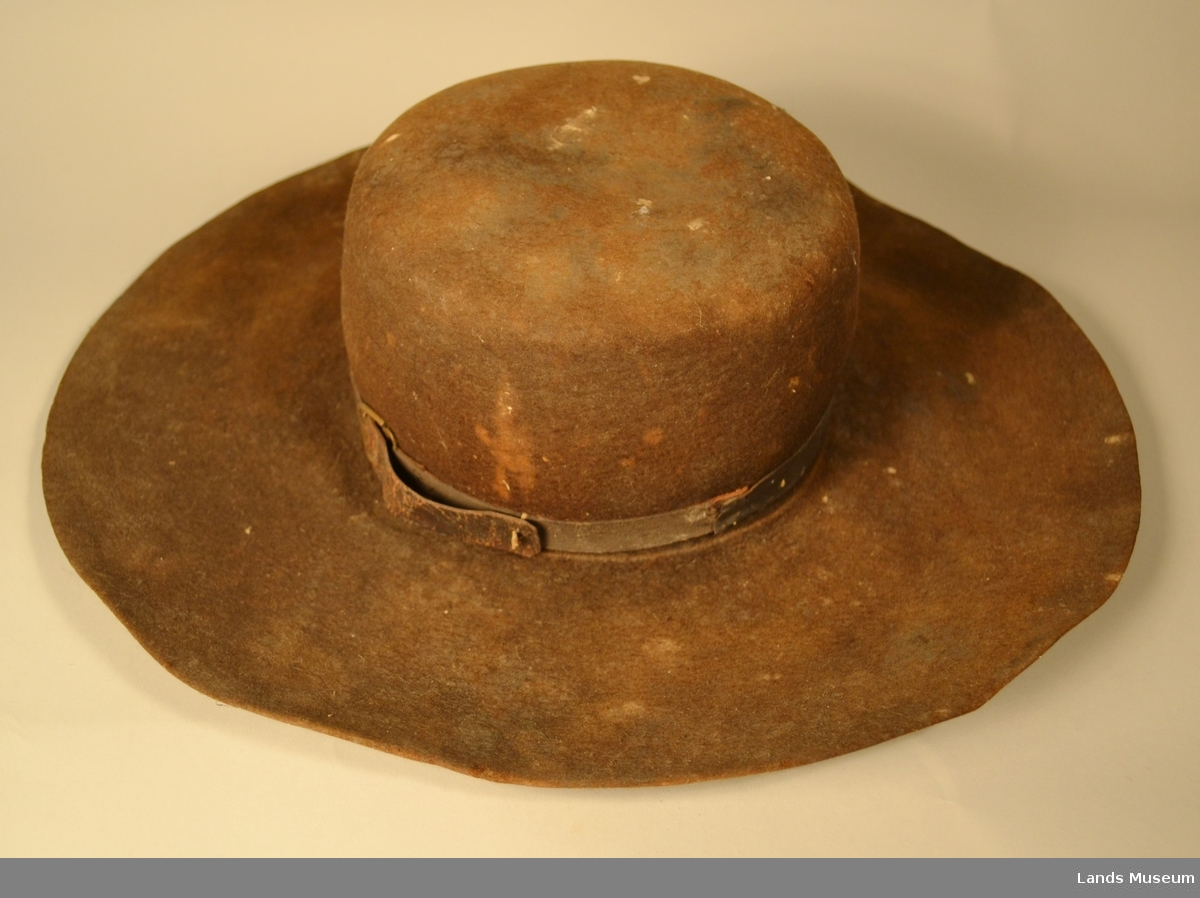 Filta hatt med skinnbånd. Bredbremmet