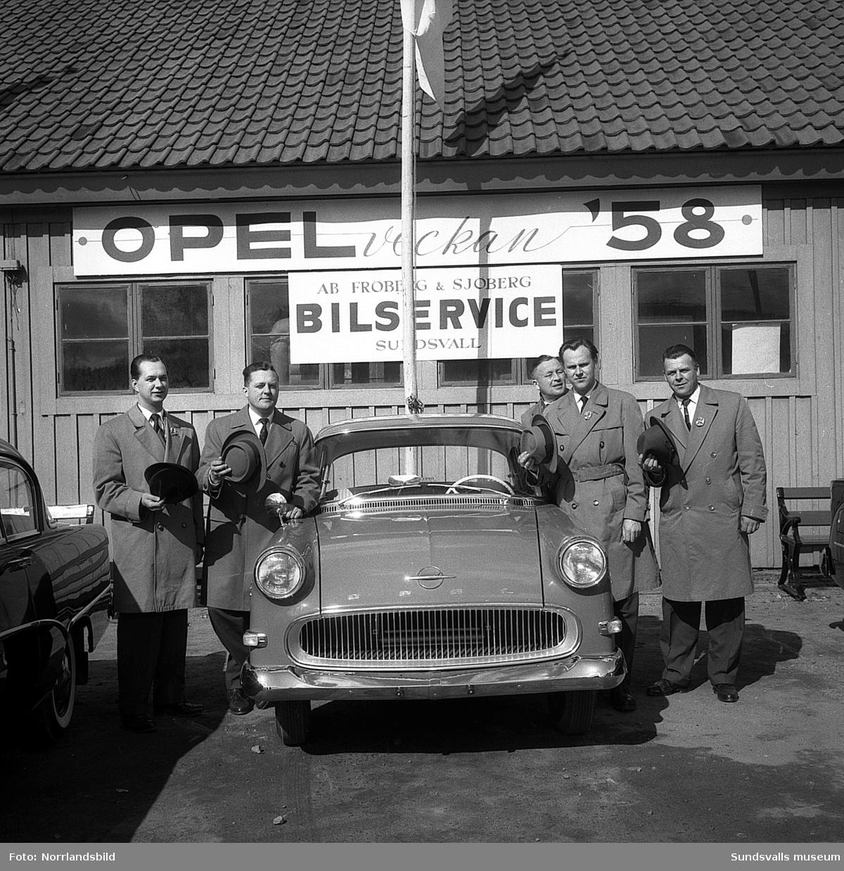 Fröberg & Sjöbergs bilservice laddar för Opel-veckan -58. Okänd adress.