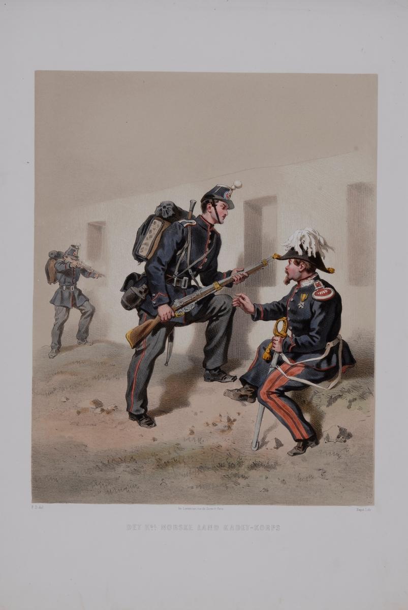 Plansch med uniform för Norska kadettkåren. Plansch i färgtryck efter original av Fritz von Dardel. Ingår i planschsamlingen Den svenska och norske armeens uniformer, 1861-1863.