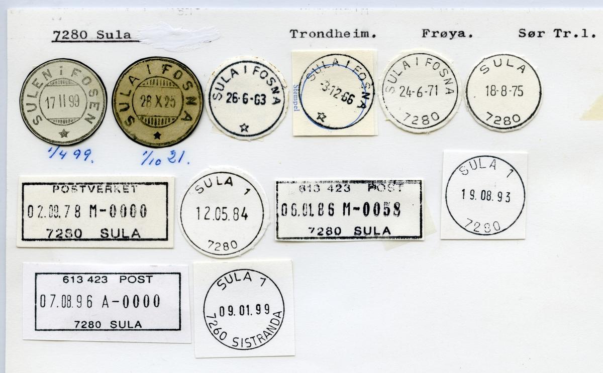 Stempelkatalog  7280 Sula, Frøya kommune, Sør-Trøndelag (Sulen i Fosen)