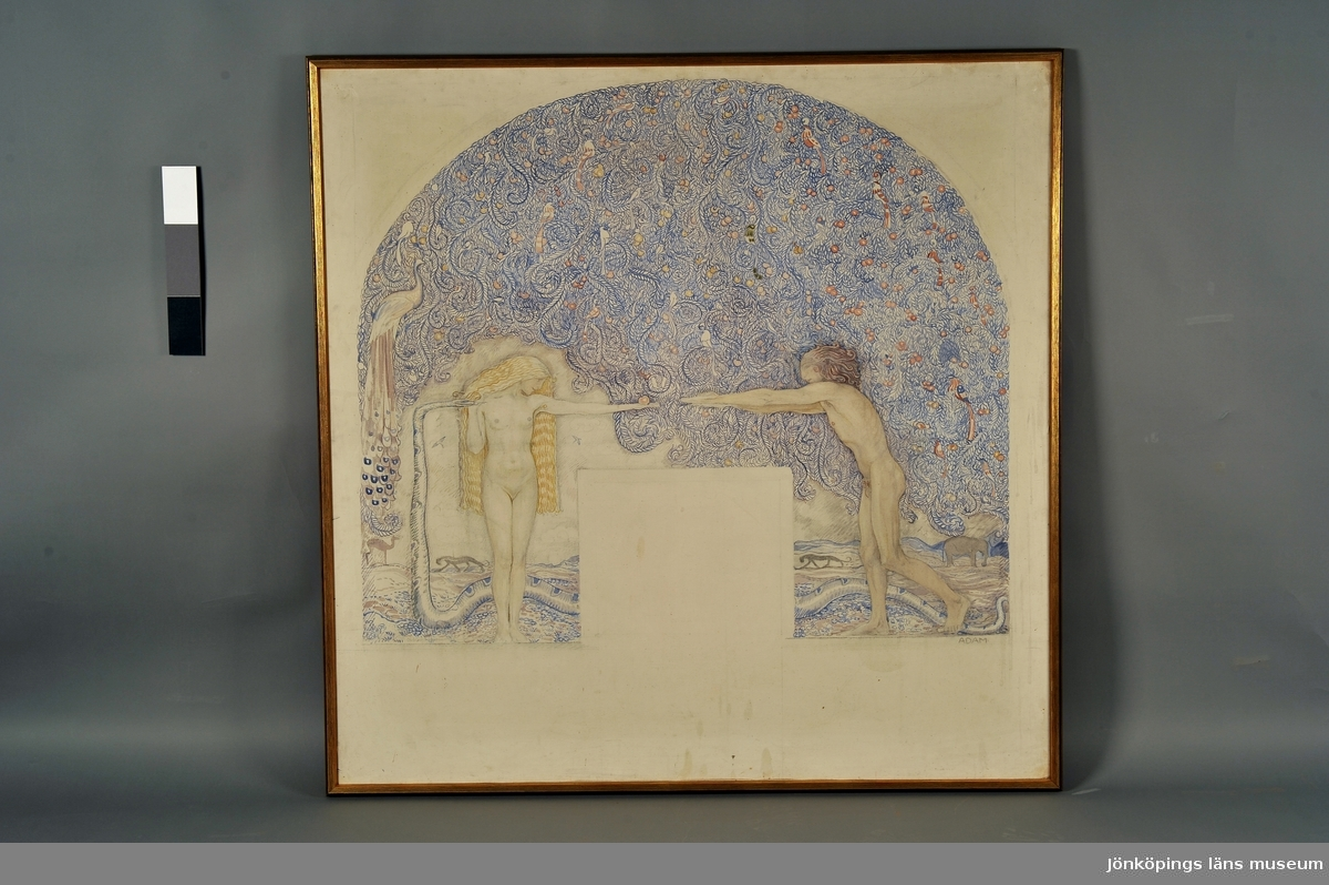 Adam och Eva, djur, vegetation.