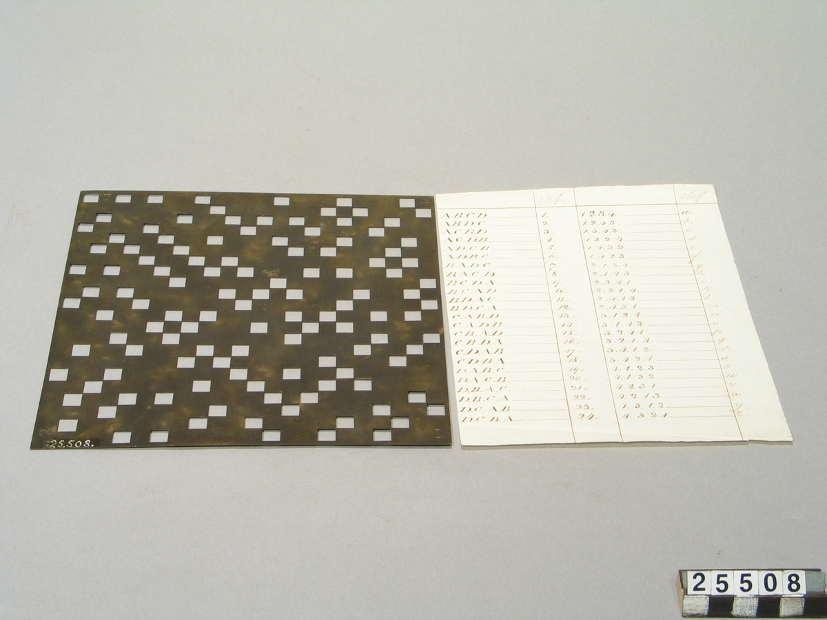 """Skiva av mässsing enligt engelsmannen Flamms metod. Jämte nyckel på papper. Har legat tillsammans med TM25509 i kuvert med påskrift: """"Chiffer med skriftlig nyckel"""" (1700-talet, början av 1800-talet) """"Tidigare i jalusiskåpet bland Böttigers handlingar"""".  Chiffreringen gick till så att klartexten skrevs in bokstav för bokstav i de öppna rutorna från vänster till höger och sedan rad för rad på ett papper under rasterskivan. Därefter vreds skivan ett kvarts varv och lades på samma plats. Så fortsatte ifyllnaden av text. Skivan vreds ett kvarts varv till osv. När skivan använts i alla fyra riktningarna tog man bort skivan. Den text som då fanns inskriven utgjorde chiffertexten, som alltså bestod av samma bokstäver som klartexten, men omkastade."""