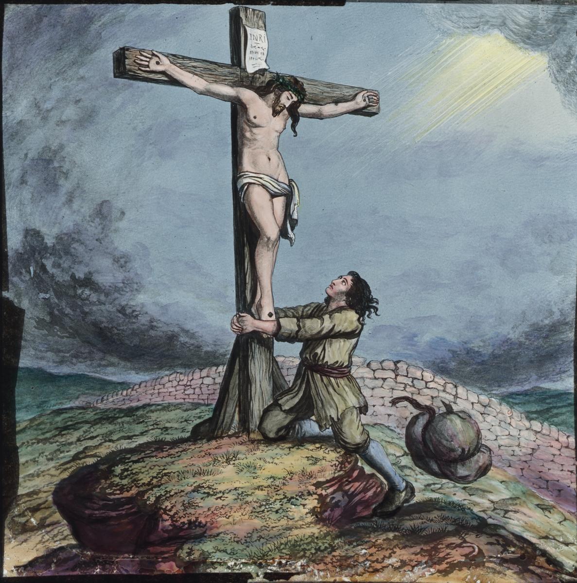 Kolorerad skioptikonbild med religiöst motiv. Jesusu på kordet.