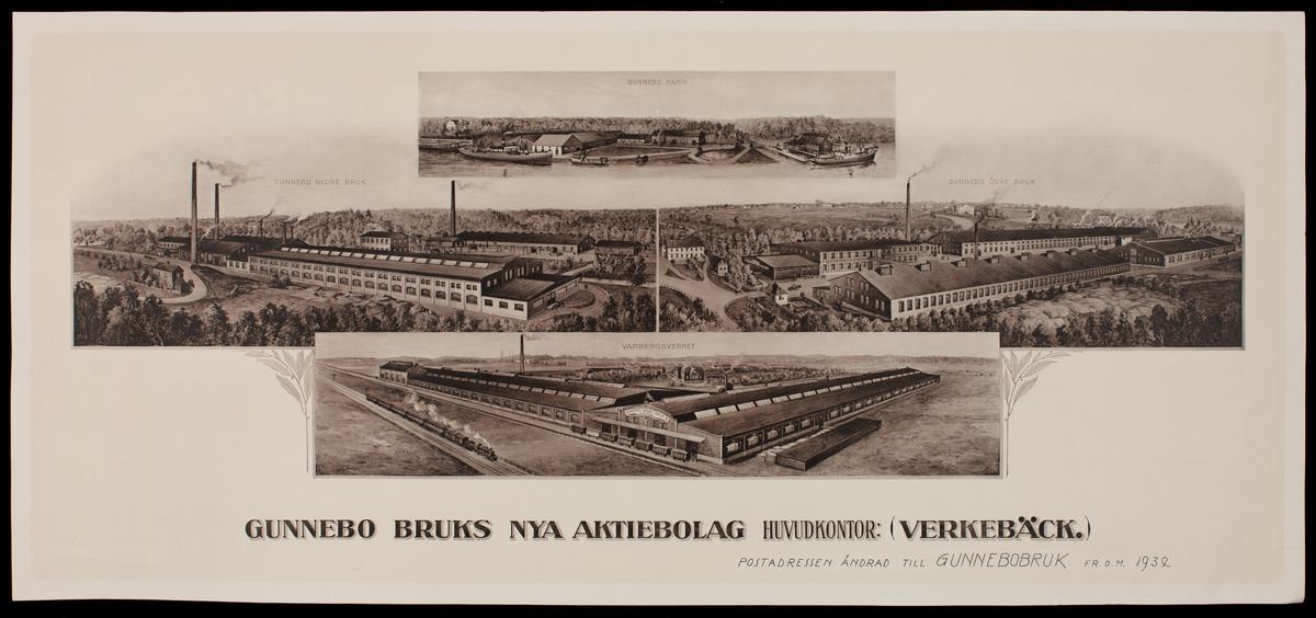 """Bruket började som en s.k. Knipphammarsmedja, startad av rådmannen Hans Hultman. Företaget kom att få namnet """"Stora Gunnebo Manufakturverk"""". Bruket har genom åren bytt ägare ett antal gånger. 2005 börsnoterades Gunnebo Industrier AB och ägs av riskkapitalbolaget Segulah."""