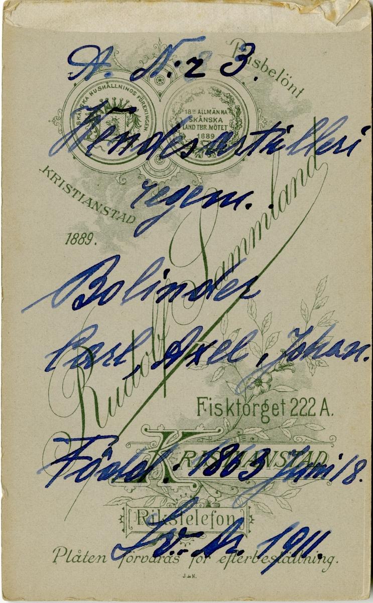 Porträtt av Carl Axel Johan Bolinder, officer vid Wendes artilleriregemente A 3. Se även bild AMA.0006887 och AMA.0006968.