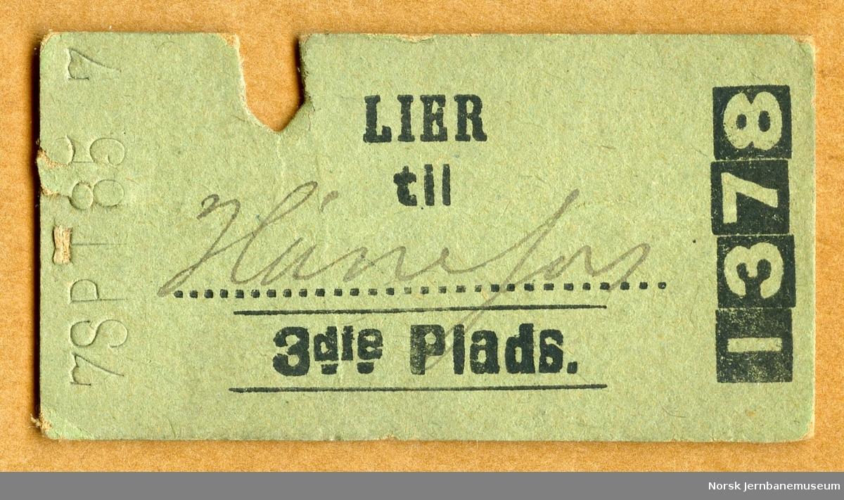 Billett Lier-Hønefos, 3die Plads