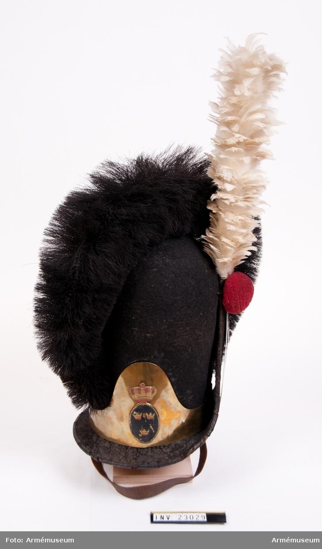 Grupp C I.  Huvudbonad med tagelliggare. Ur uniform för spel vid Svea Livgarde 1812-16. Består av frack, epåletter, väst, knäbyxor, huvudbonad, plym, skor, damasker, spännhalsduk, gehäng, rem till huggare, trumma, bärrem, trumstock.