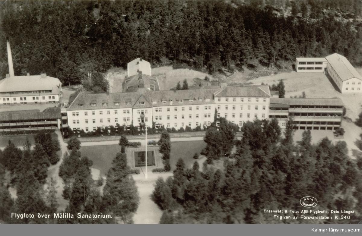 Vykort över Målilla santatorium, som tog emot tbc-patienter 1915-1973.