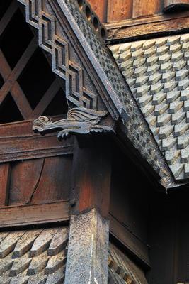 Detalj av Stavkirken fra Gol. Foto/Photo