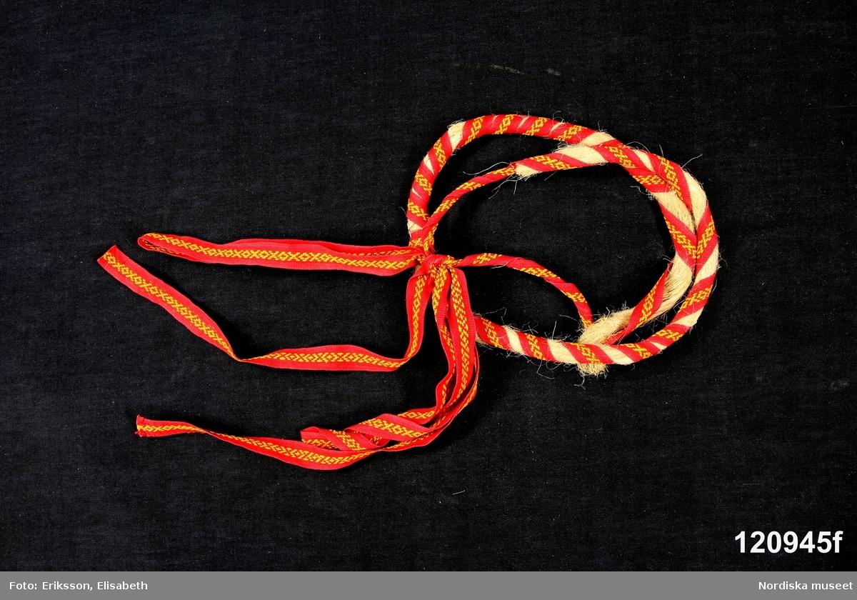 """Huvudliggaren: """"Kvinnodräkt bestående av a)kjol med vidhängande liv  b)överdel  c)krage  d)flax  e)förkläde  f)hårband  g)smyckesnål  h+)strumpor  i+)skor  j)vadmalströja  k)vantar   Buren av givarinnan.    i:2+) skoband  i:3+) skoband""""  Bilaga brev från Morahemslöjdens Vänner: """"Enligt avlidna Fröken Beda Larssons önskan sända vi hennes Moradräkt som gåva till Nordiska Museet.""""  Katalogkort: B: Finns ej. C: Inga ytterligare uppgifter. D. Inga ytterligare uppgifter  A. Livkjol av svart maskingoffrerat halvylle med liv av rött kläde kantat med gula sidenband. B: Överdel av tuskaftat vitt linne C.Halskläde i vitt linnetyg bestående av fram- och bakstycke och axellappar.  /Inga-Lill Eliasson 2007-05-25 D. Flax, av dubbelt vitt bomullslärft. I främre kanten en 1,3 cm bred knypplad spets. I bakre ett enkelt hålsömsbroderi.  G. Smyckenål, längd 7 cm, hängen längd 3 cm. Mässingsnål  med 3 vridna öglor i toppen från två av dem ^-formade hängen med vardera två likadana kläppar med liten pärlbård.  Berit Eldvik maj 2005"""