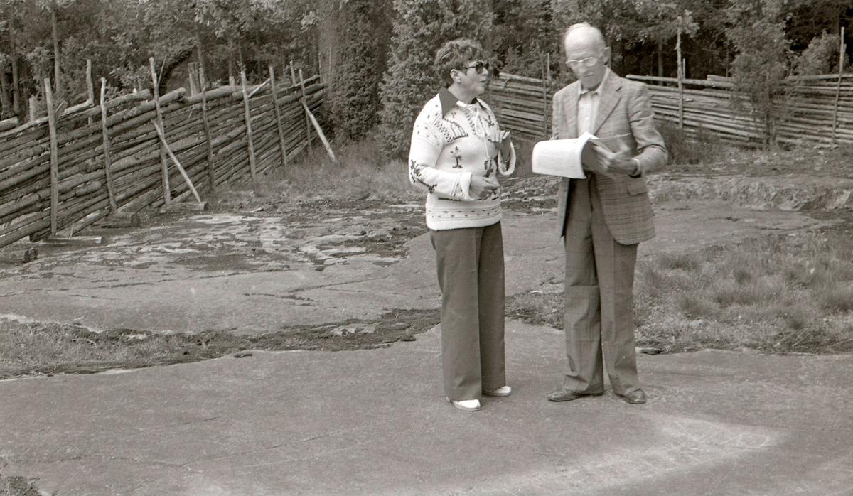 """En man och en kvinna står på en berghäll som har hällristningar. Hällristningsområdet i Tanum är ett område i Tanums kommun i Bohuslän där man funnit flera berghällar med stora mängder hällristningar från bronsåldern. Runt den största av dem, Vitlyckehällen, är Vitlycke museum uppbyggt. Hällen har närmare 300 inhuggna figurer och ca 170 skålgropar. Den kanske mest berömda scenen bland alla Tanums hällristningar, """"Brudparet"""", finns här. Bland de övriga närliggande hällarna märks Litsleby med en ca 2,3 meter lång spjutbeväpnad man, """"Spjutguden"""", och Aspeberget med en plöjningsscen, ett antal oxar och skepp. Hällen vid Fossum ligger en bit från de övriga. Den kännetecknas av en mer sammanhållen och konstnärlig komposition. Kanske är den gjord av en enda ristare.  Hällristningarna har i modern tid fyllts i med röd färg för att göra dem tydligare. Det är inte känt om de var målade från början.  (Hämtat från Wikipedia)"""