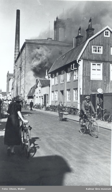 Branden i Kalmar ångkvarn i juli 1935.