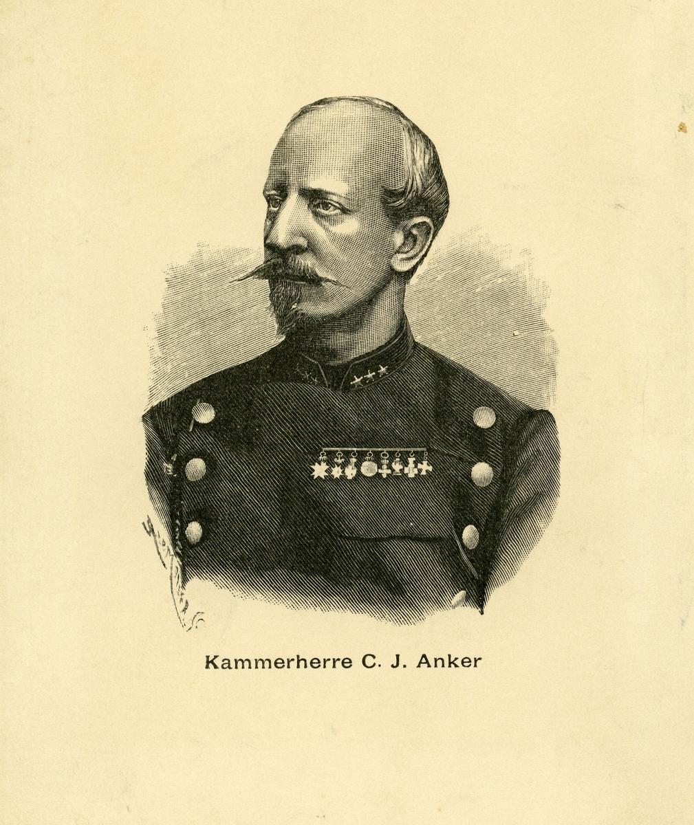 Tegnet portrett av en mann i uniform.