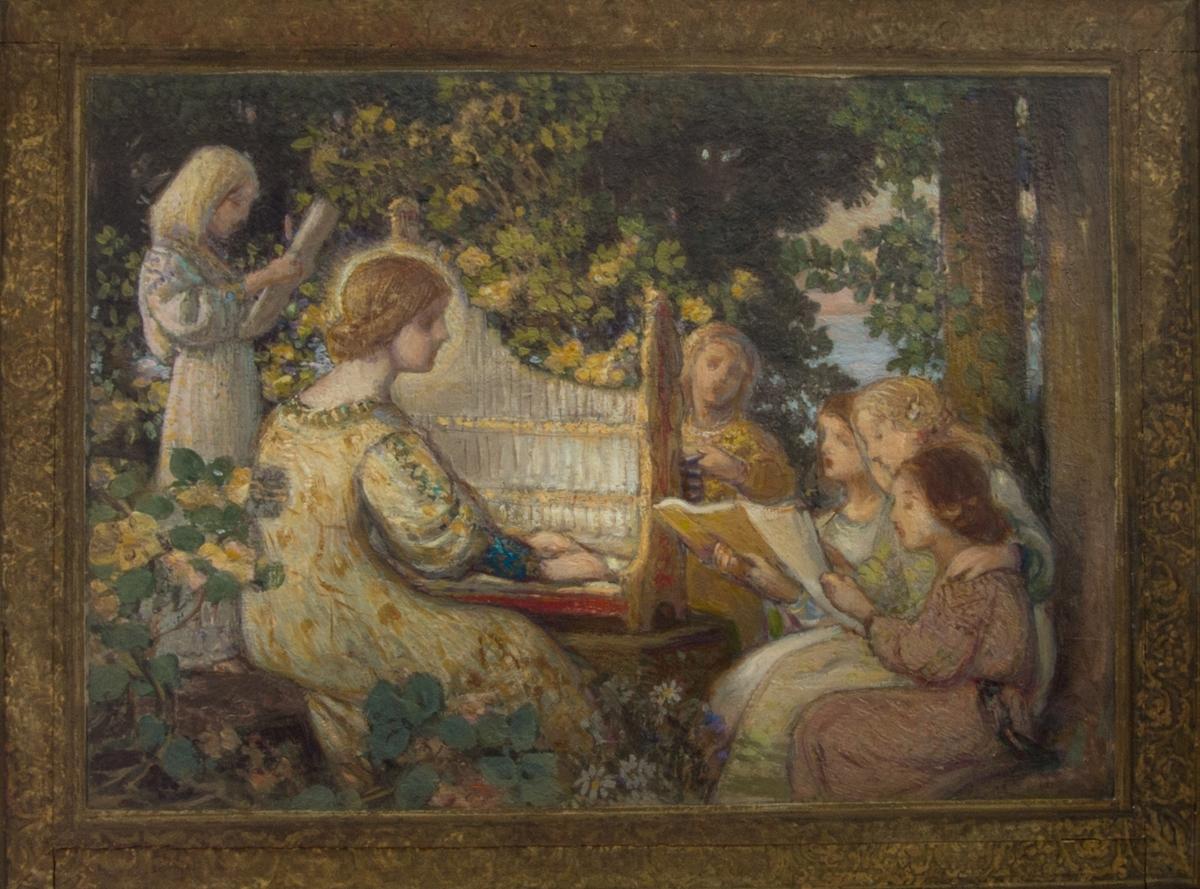 Den heliga Cecilia som spelar på ett orgelpositiv omgiven av barn.