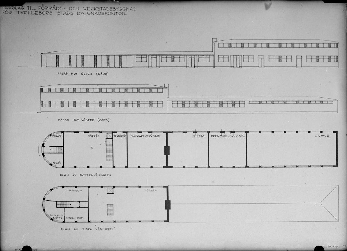 Ritning av förrådslokalen till byggnadskontoret november 1937, 12785.