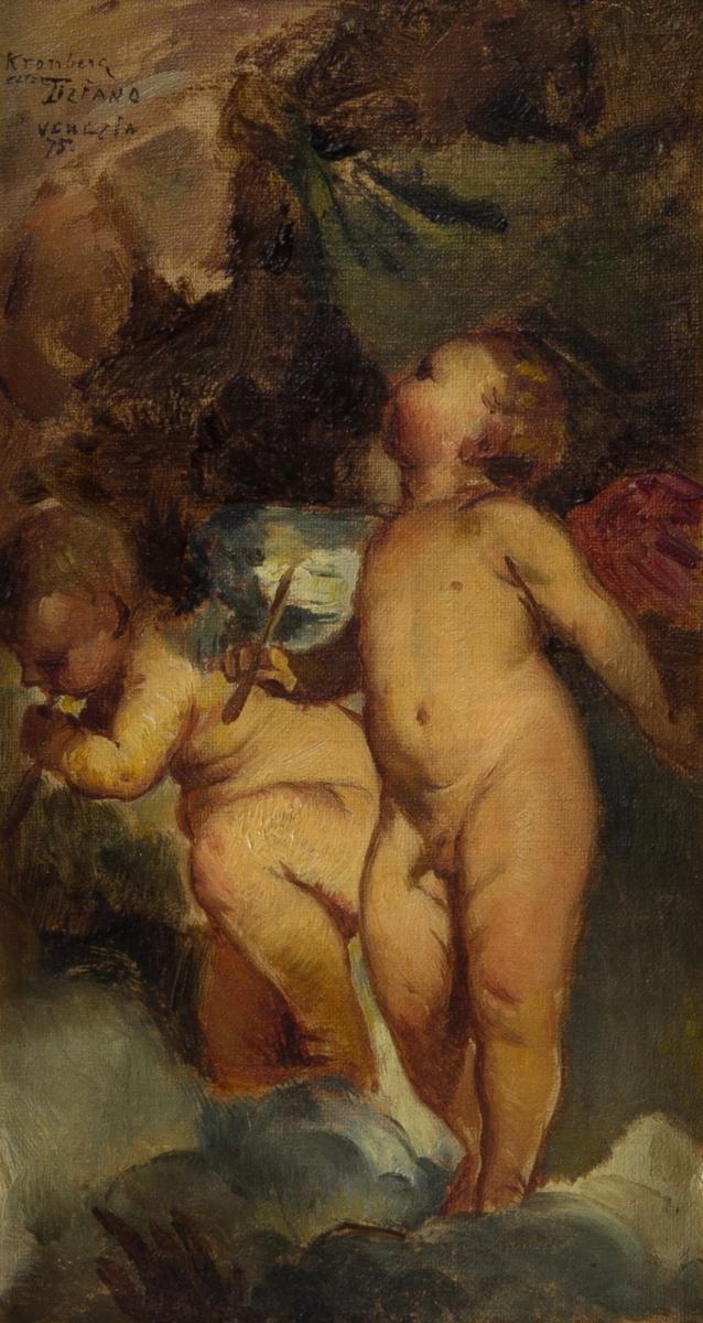 Två änglar i helfigur, stående på ett moln och hållande i flöjter.