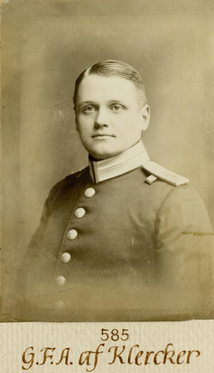 Porträtt av Gustaf Fredrik Adolf af Klercker, löjtnant vid Göta livgarde I 2.