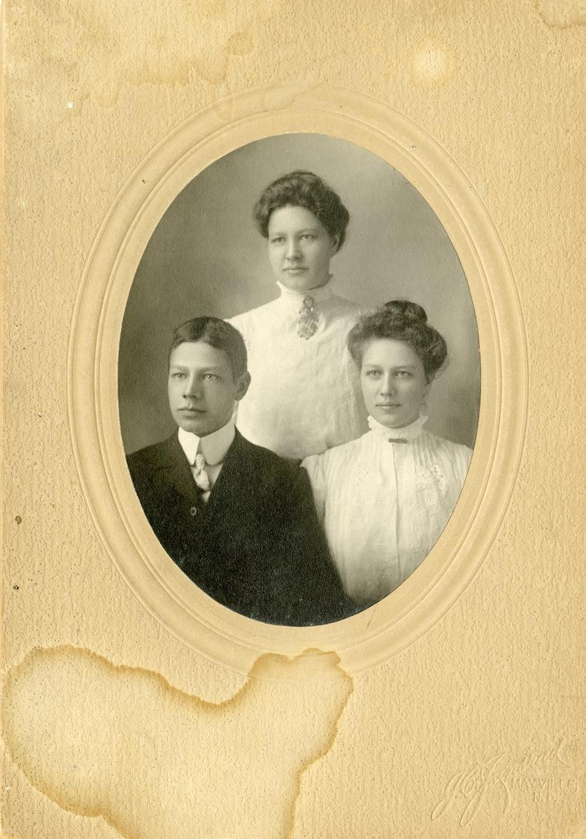 Portrett i halvfigur av søskene Thorvald, Else og Aagot Høneren