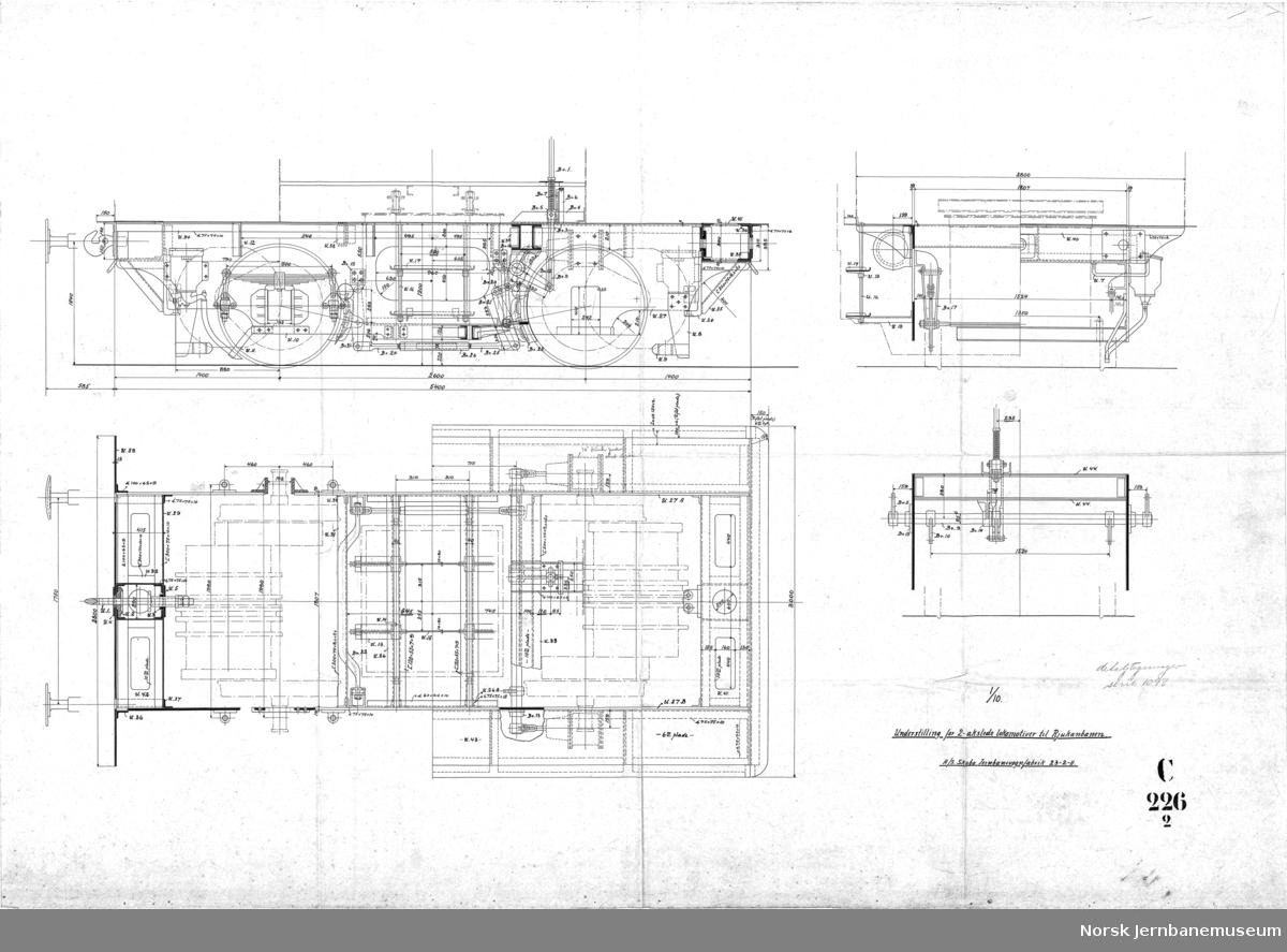 20 tons toakslet lokomotiv for Rjukanbanen  C226-01A og 1B - Hovedtegning C226-02 Understilling C226-05 Bremseskjema C226-11 Rørledninger for bremse og strømavtaker  Det finnes i alt 16 tegninger i serien. Alle er scannet.  Det er mange tegninger i serien som ikke er scannet