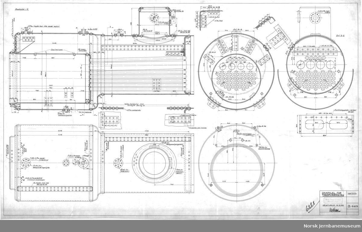 Kjelevogn for togoppvarming, litr. Fd vogn nr. 1023, 1024  B482 Hovedtegning B450 Dampkjel (se også B465) B460 Understilling (se også B466) B461 Vandtanker B464 Stænderverk B465 Dampkjel B466 Understilling B474 Vandtanker B484 Nummerskilt
