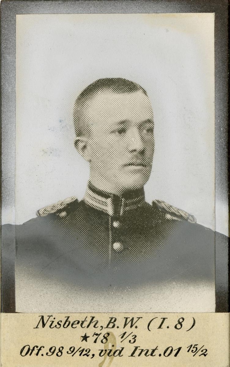 Porträtt av Bror Wilhelm Nisbeth, officer vid Uplands regemente I 8 och Intendenturkåren.
