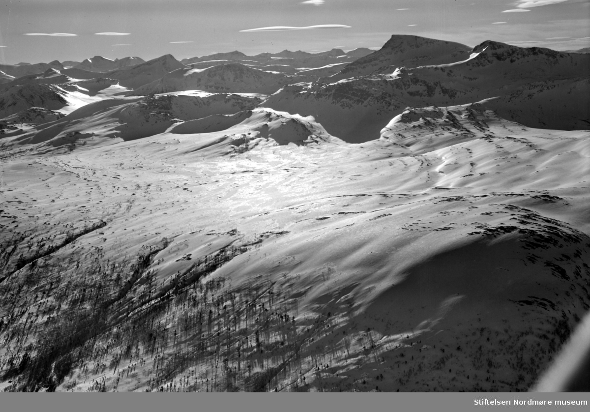 Flyfoto over fjellandskap. Fotograf er Widerøes flyveselskap as. Fra Nordmøre museums fotosamlinger. EFR2015