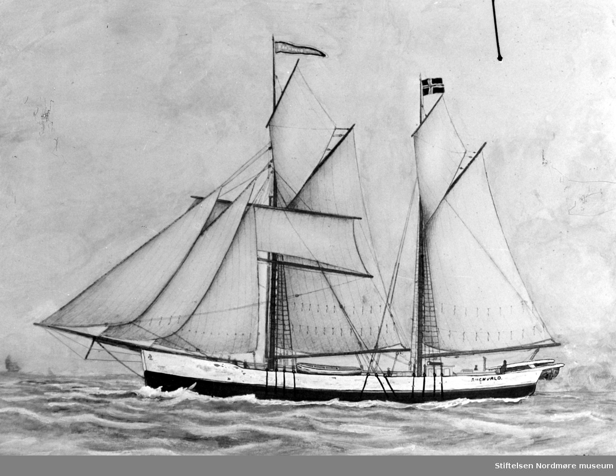 "Tegning av seilskipet "";Ragnvald"";. Fartøyet er trolig tilknyttet et Kristiansundsrederi. Fra Nordmøre museums fotosamlinger. Reg: EFR"