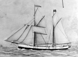 """Tegning av seilskipet """";Ragnvald"""";. Fartøyet er trolig tilkn"""
