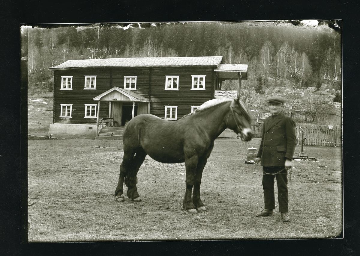 Ola T. Langedrag sammen med hesten sin på tunet i Langedrag.