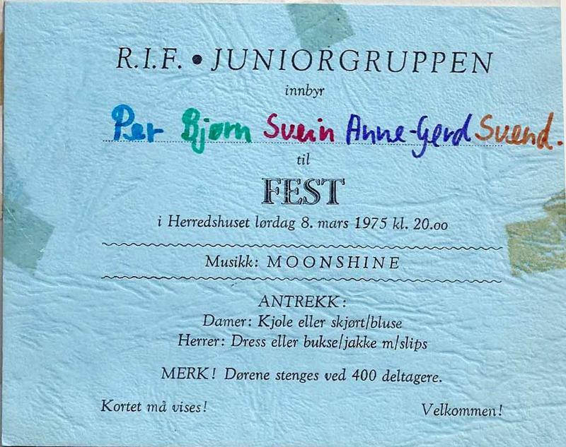 Invitasjonskort, fest på Rakkestad