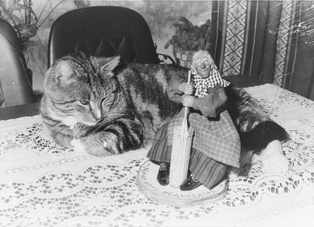 Lillian Løvstad Fjell lagde Kjerringa med staven-figurer, her sammen med Lillians katt.