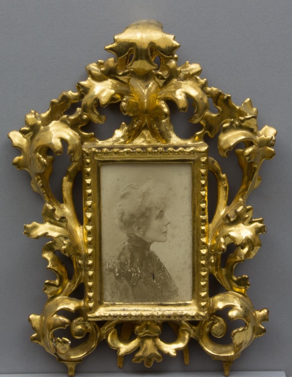 Bröstbild i profil föreställande Ellen Kronberg som äldre. Höghalsad mörk blus. Uppsatt ljust/vitt hår.