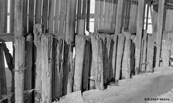 Detalj fra tømmerskjermen på Vestvollen i Fet, like ved Nite