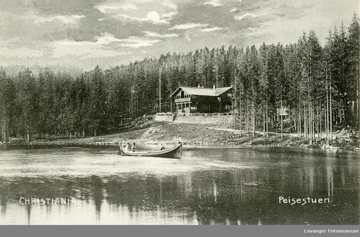 Postkort av Peisestua ved Besserudtjernet.
