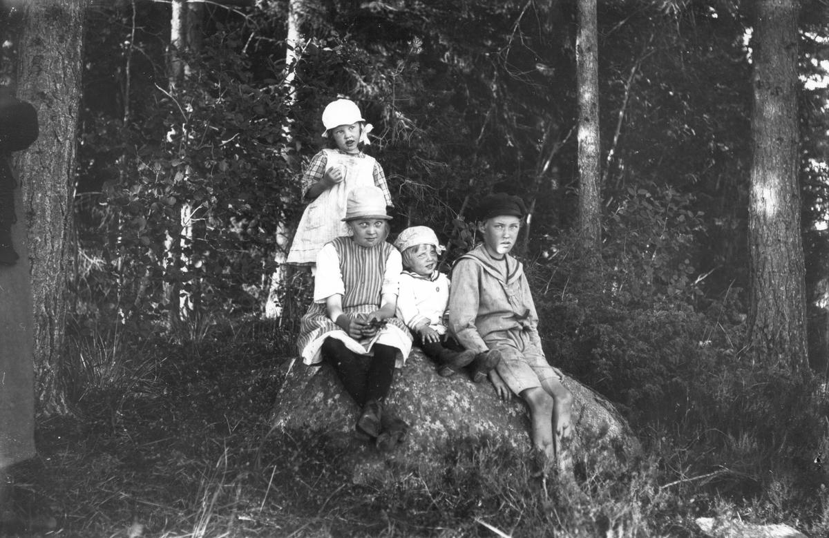 Sittande på stenen från vänster är Britt Svensson (Alsing som gift), Kjell Svensson, Tord Svensson, stående Lisen Svensson ( Hedberg som gift).