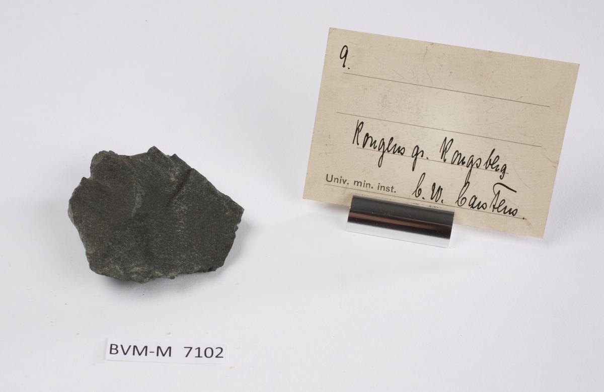 Etikett i eske: 9.  Kongens gr. Kongsberg C.W. Carstens