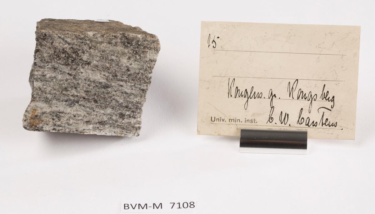 Etikett i eske: 15.  Kongens gr. Kongsberg C.W. Carstens