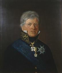 Portrett av Peter Motzfeldt.  Grått, kort hår. Statsrådsuniform (etter 1815), høy krave m/gull, blått ordensbånd, 3 ordener.