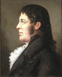 Portrett av Jens Rolfsen. Profil. Mørk drakt, hvit skjorte.