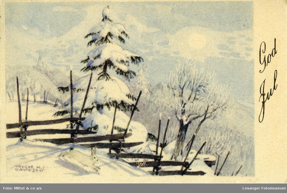 Postkort, vintermotiv med hare og skigard.