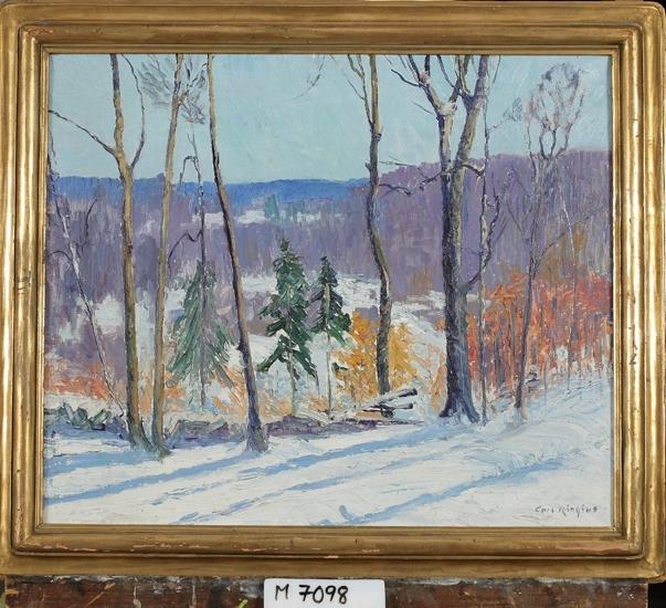 Oljemålning på duk. Ett solbelyst snötäckt landskap. I förgrunden några  glesa trädstammar.