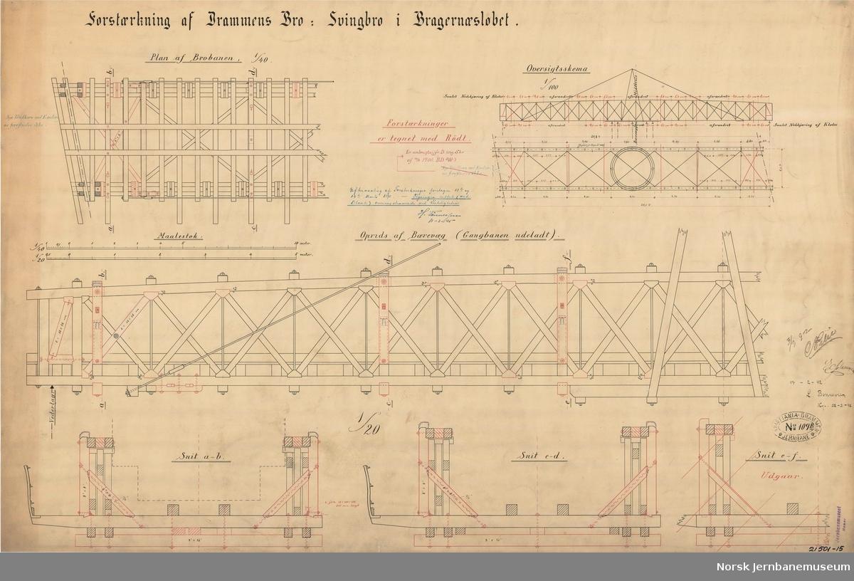 Forstærkning af Drammens Bro : Svingbro i Bragernæsløbet  Tegning fra 1892 ajourført i 1895 og 1900
