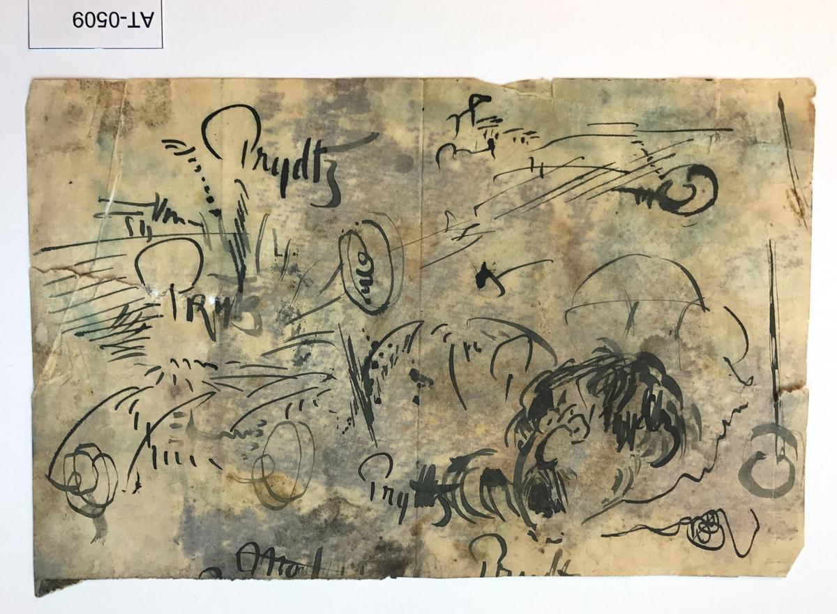 Tosidig skisse, ark frå skissebok Side 1: Tusjskisse Side 2: Penn/tusjskisse; Prydtz skreve fleire gonger på ulike måtar og eit mannsandlet. Eiler Prytz var ein kunstnarven av Astrup.