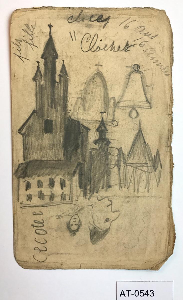 Tosidig skisse (ark frå skissebok). Side 1: Klokketårn med omrisset av Sacre Coeur i Paris i bakgrunnen, ei stor klokke og eit par kvinneansikt opp ned under. Side 2: naken kvinne på veg ut av seng. Mann sitt bak forheng?