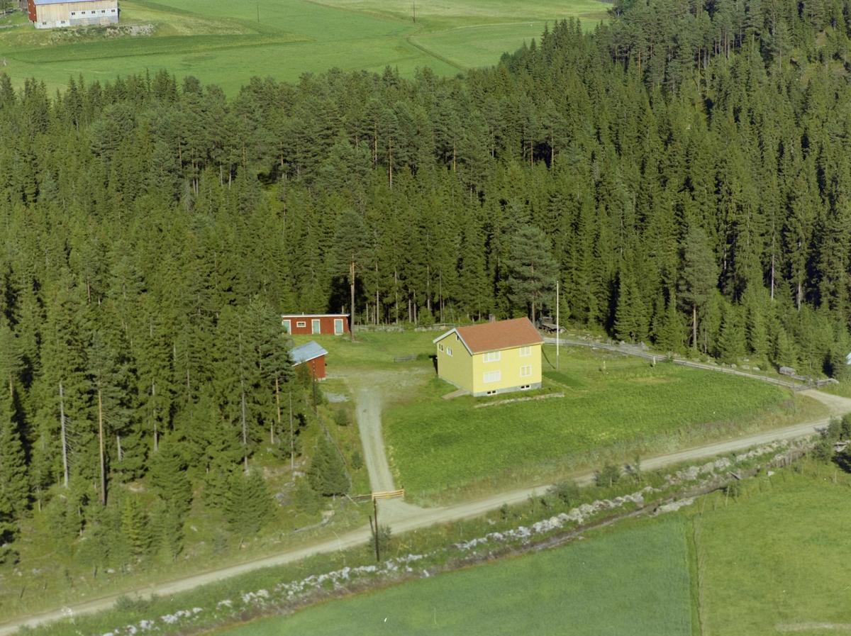Gult bolighus omringet av skog