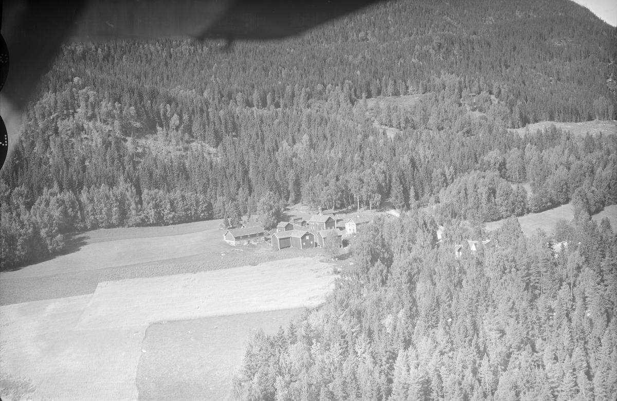 Aurom gård, Øyer, 1953, To driftsbygninger, to våningshus, begge toetasjes, stabbur, diverse uthus, li, jordbruk, blandingsskog