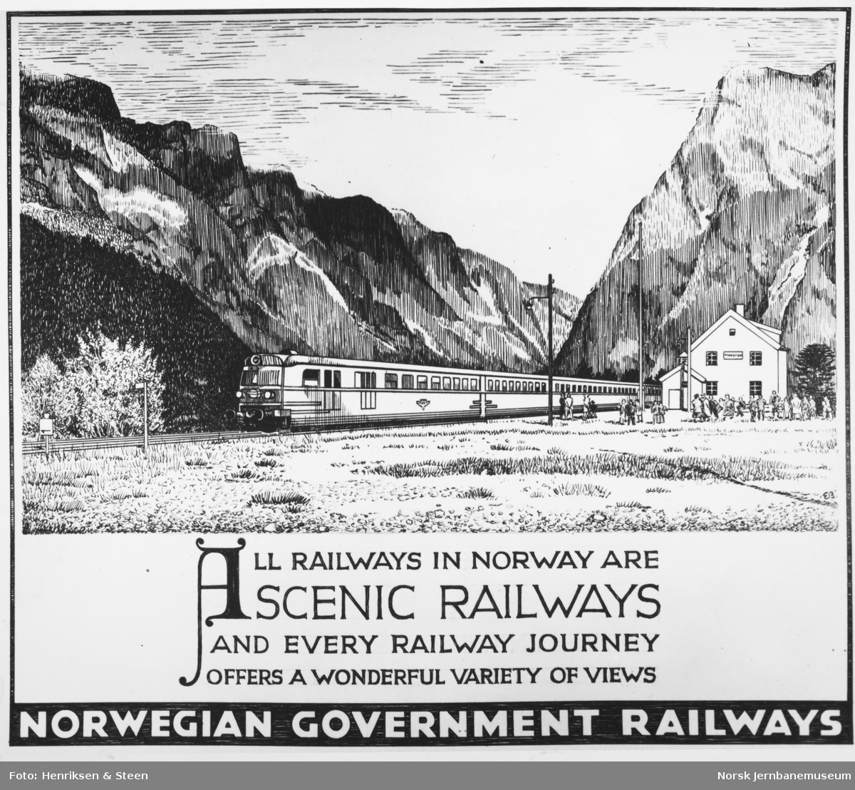 NSB-annonse: All railways in Norway are scenic railways and every railway journey offers a wonderful variety of views
