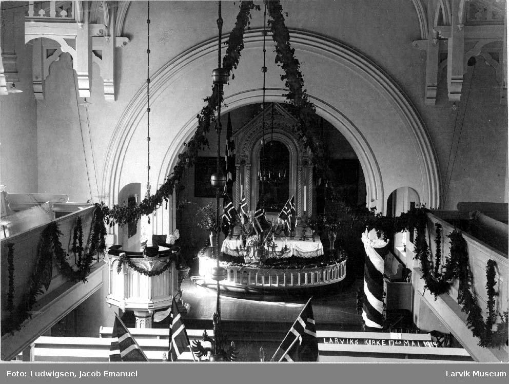 Interiør, Larvik kirke, 17. mai 1914